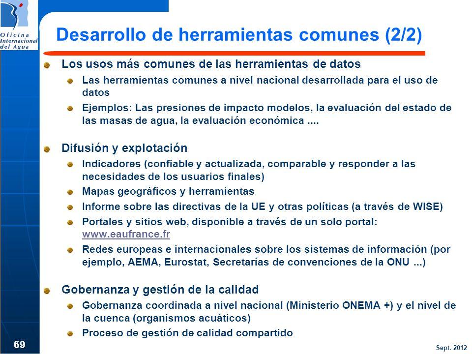 Sept. 2012 Desarrollo de herramientas comunes (2/2) Los usos más comunes de las herramientas de datos Las herramientas comunes a nivel nacional desarr
