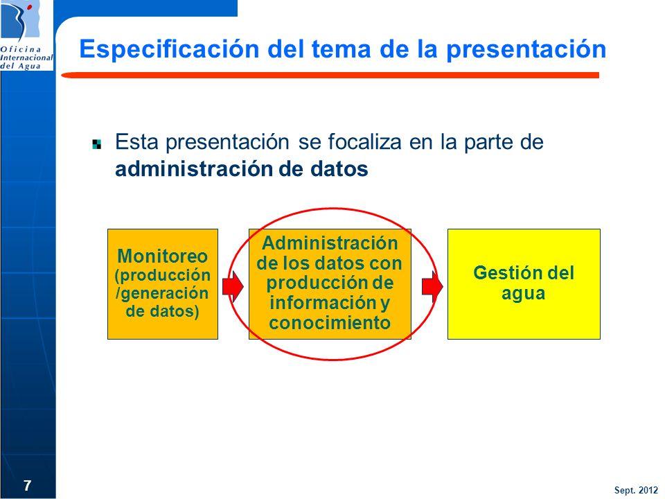 Sept. 2012 7 Especificación del tema de la presentación Monitoreo (producción /generación de datos) Gestión del agua Administración de los datos con p