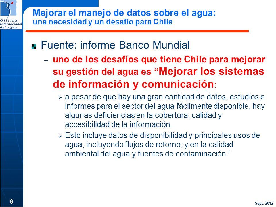Sept. 2012 Mejorar el manejo de datos sobre el agua: una necesidad y un desafío para Chile Fuente: informe Banco Mundial – uno de los desafíos que tie