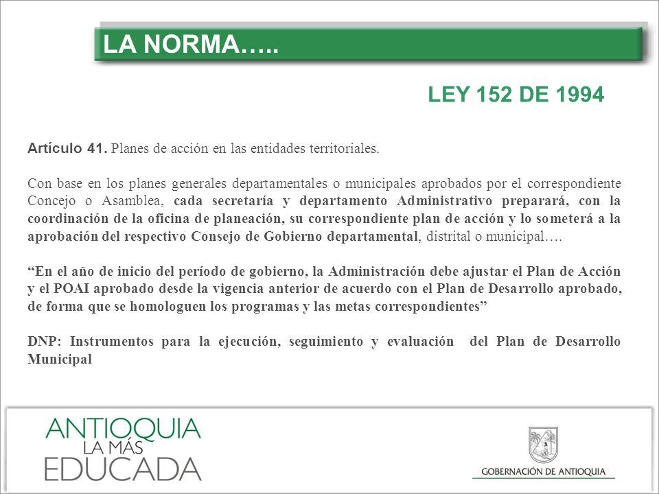 LA NORMA….. Artículo 41. Planes de acción en las entidades territoriales.