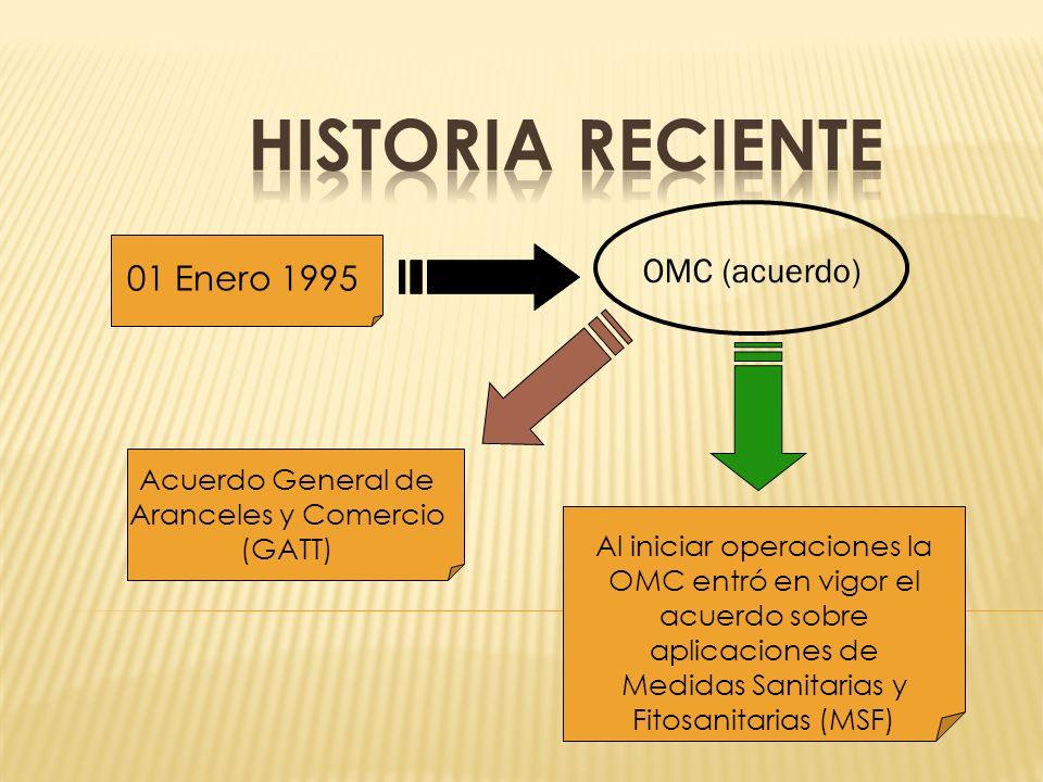 OMC (acuerdo) 01 Enero 1995 Acuerdo General de Aranceles y Comercio (GATT) Al iniciar operaciones la OMC entró en vigor el acuerdo sobre aplicaciones de Medidas Sanitarias y Fitosanitarias (MSF)
