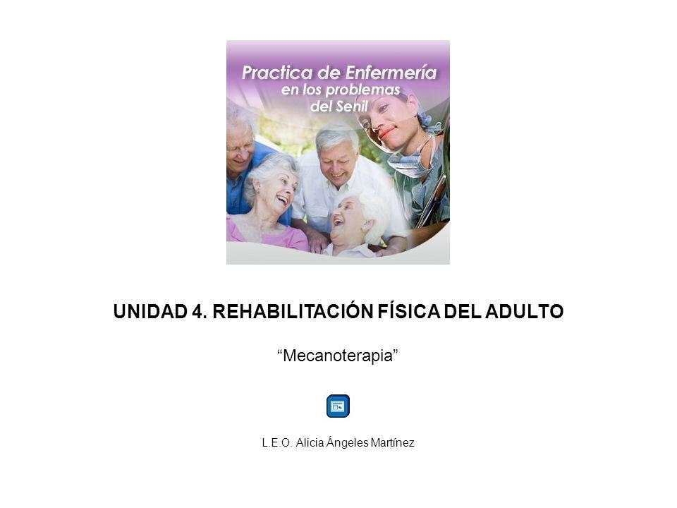 UNIDAD 4. REHABILITACIÓN FÍSICA DEL ADULTO Mecanoterapia L.E.O. Alicia Ángeles Martínez