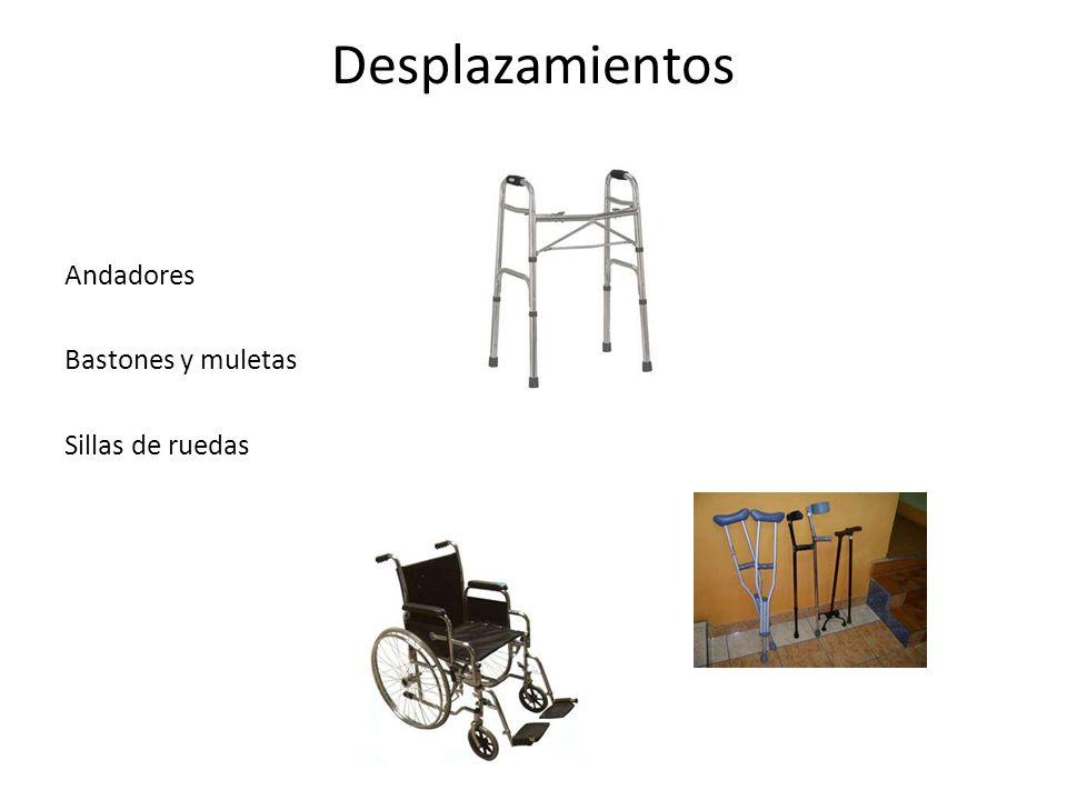 Desplazamientos Andadores Bastones y muletas Sillas de ruedas
