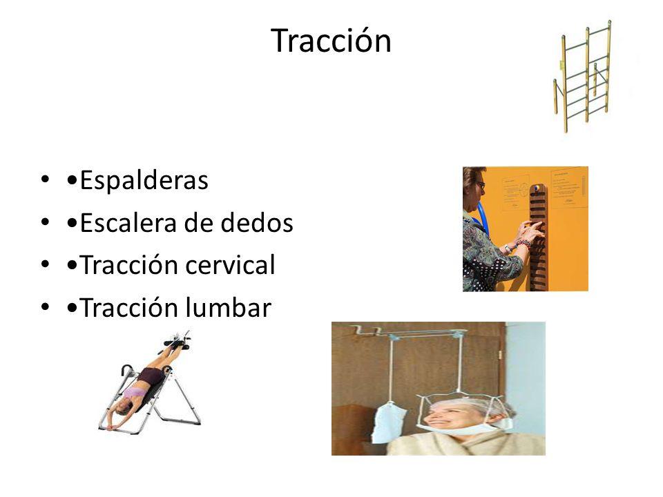 Tracción Espalderas Escalera de dedos Tracción cervical Tracción lumbar