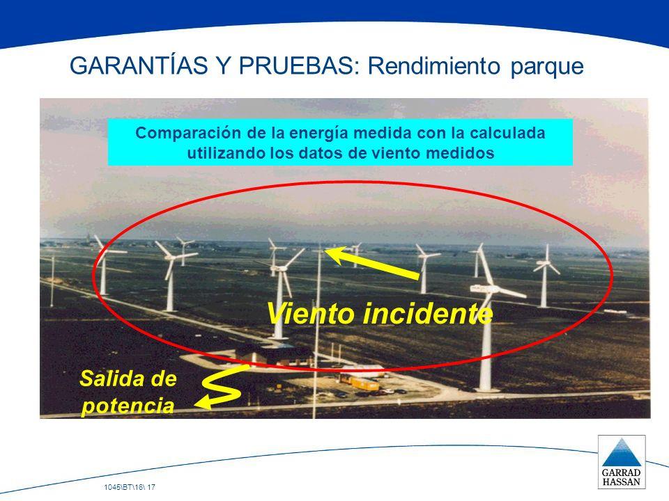 1045\BT\16\ 17 GARANTÍAS Y PRUEBAS: Rendimiento parque Viento incidente Salida de potencia Comparación de la energía medida con la calculada utilizand