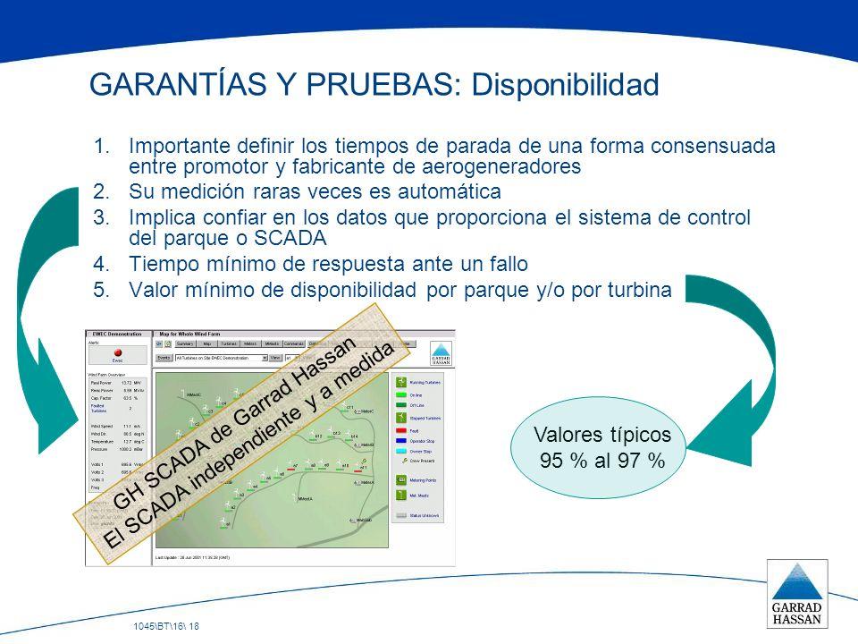 1045\BT\16\ 18 GARANTÍAS Y PRUEBAS: Disponibilidad 1.Importante definir los tiempos de parada de una forma consensuada entre promotor y fabricante de