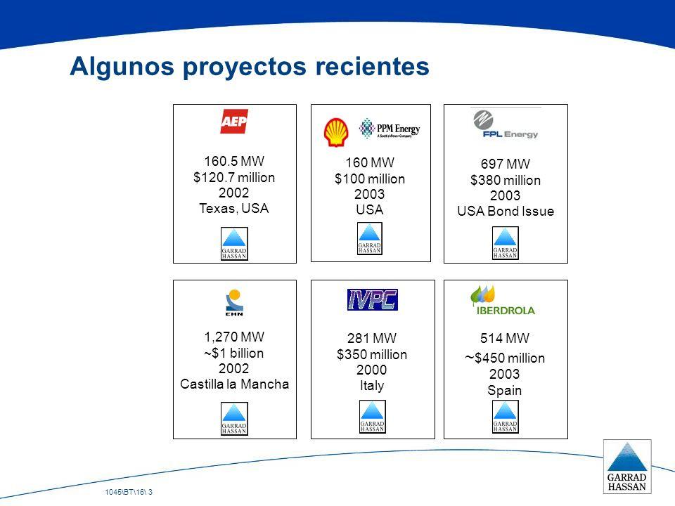 1045\BT\16\ 3 Algunos proyectos recientes 1,270 MW ~$1 billion 2002 Castilla la Mancha 281 MW $350 million 2000 Italy 160.5 MW $120.7 million 2002 Tex
