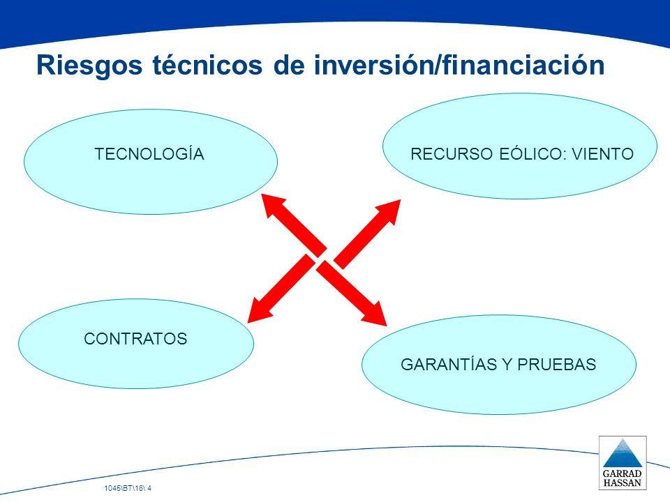 1045\BT\16\ 4 Riesgos técnicos de inversión/financiación TECNOLOGÍA CONTRATOS GARANTÍAS Y PRUEBAS RECURSO EÓLICO: VIENTO