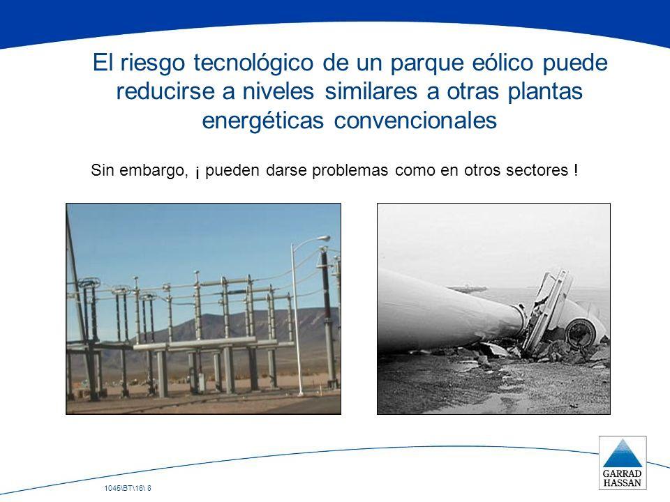 1045\BT\16\ 8 El riesgo tecnológico de un parque eólico puede reducirse a niveles similares a otras plantas energéticas convencionales Sin embargo, ¡