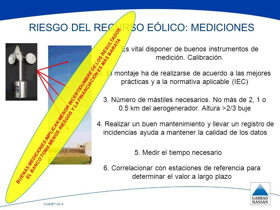 1045\BT\16\ 9 RIESGO DEL RECURSO EÓLICO: MEDICIONES 1.Es vital disponer de buenos instrumentos de medición. Calibración. 2. El montaje ha de realizars