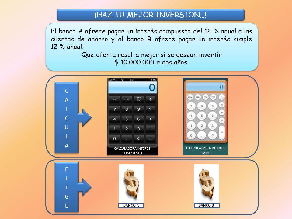 El banco A ofrece pagar un interés compuesto del 12 % anual a las cuentas de ahorro y el banco B ofrece pagar un interés simple 12 % anual.