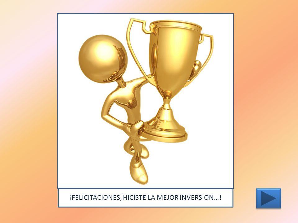 ¡FELICITACIONES, HICISTE LA MEJOR INVERSION…!