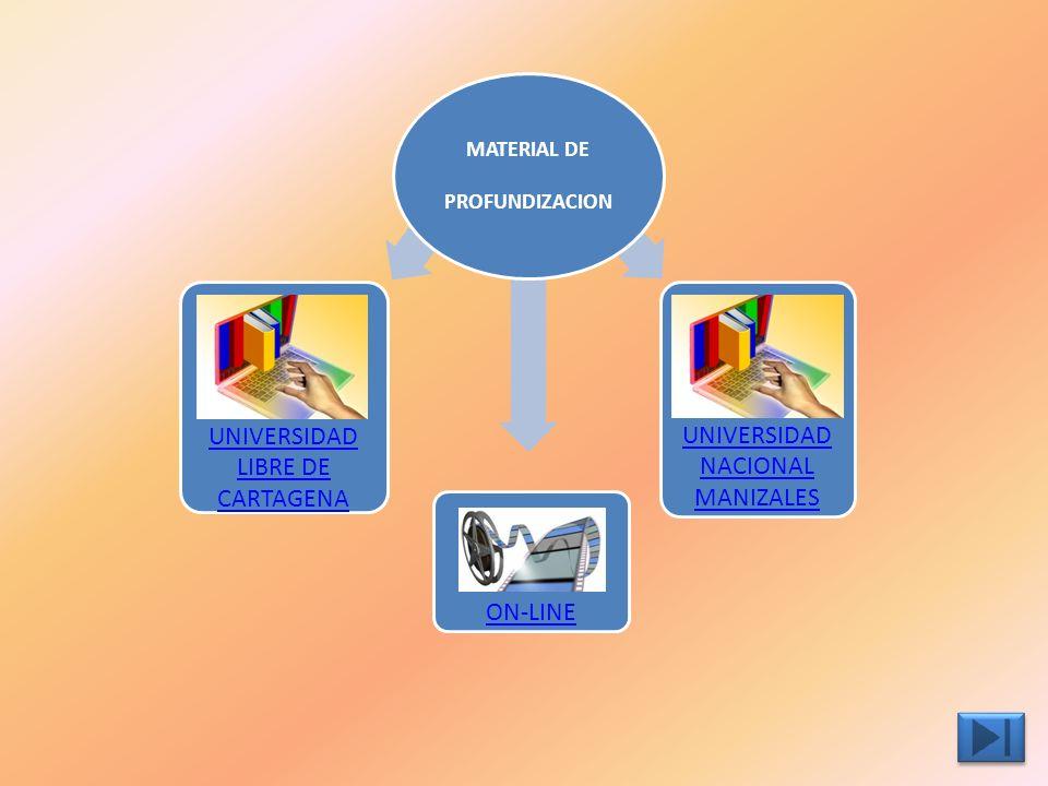 MATERIAL DE PROFUNDIZACION MATERIAL DE PROFUNDIZACION ON-LINE UNIVERSIDAD LIBRE DE CARTAGENA UNIVERSIDAD NACIONAL MANIZALES