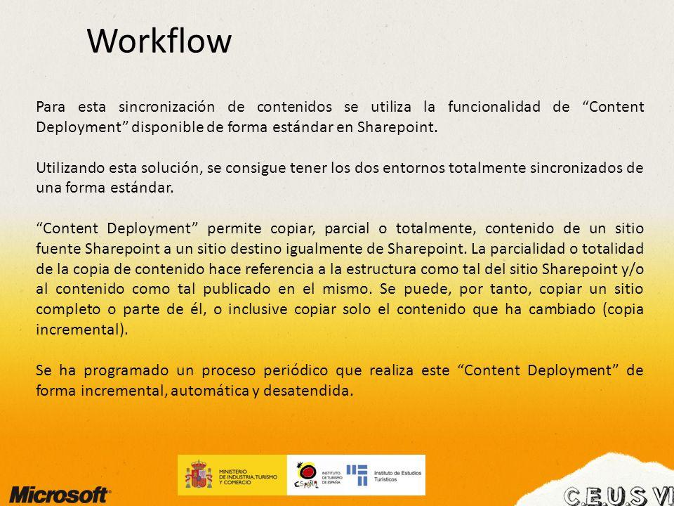 Workflow Para esta sincronización de contenidos se utiliza la funcionalidad de Content Deployment disponible de forma estándar en Sharepoint. Utilizan