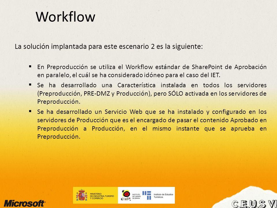 Workflow La solución implantada para este escenario 2 es la siguiente: En Preproducción se utiliza el Workflow estándar de SharePoint de Aprobación en