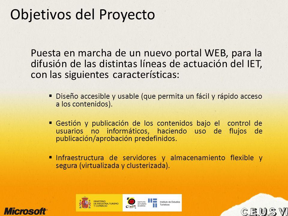 Objetivos del Proyecto Puesta en marcha de un nuevo portal WEB, para la difusión de las distintas líneas de actuación del IET, con las siguientes cara