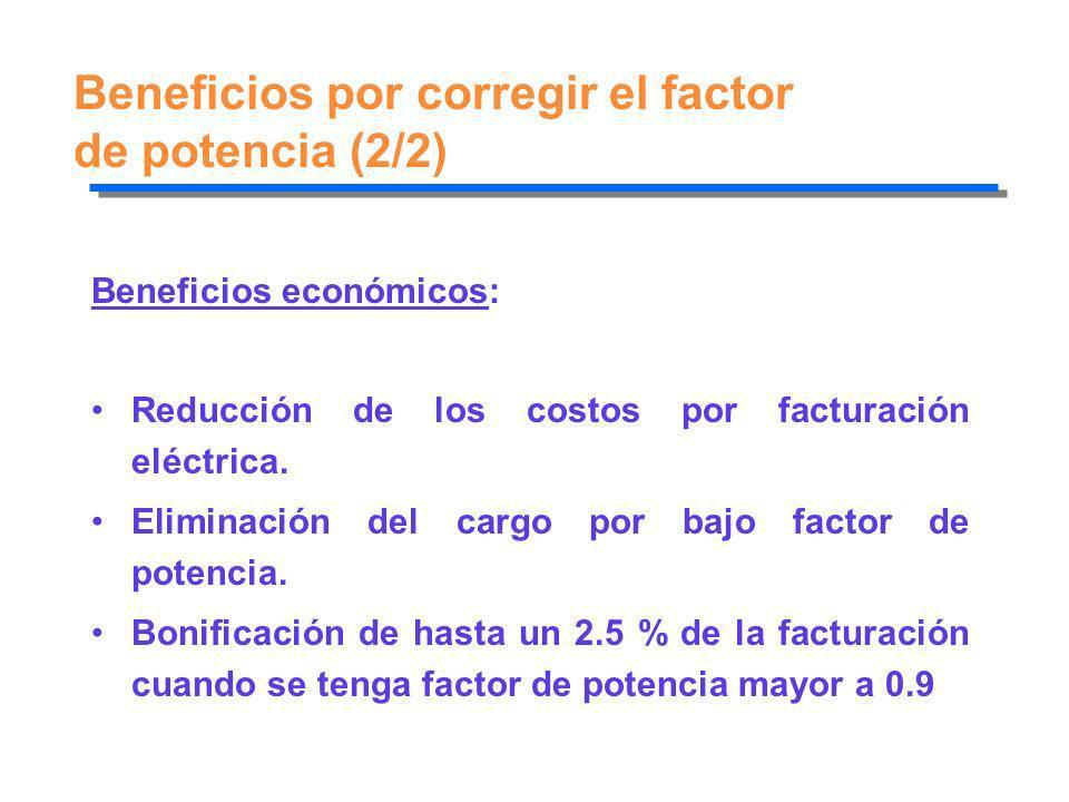 Beneficios por corregir el factor de potencia (2/2) Beneficios económicos: Reducción de los costos por facturación eléctrica. Eliminación del cargo po