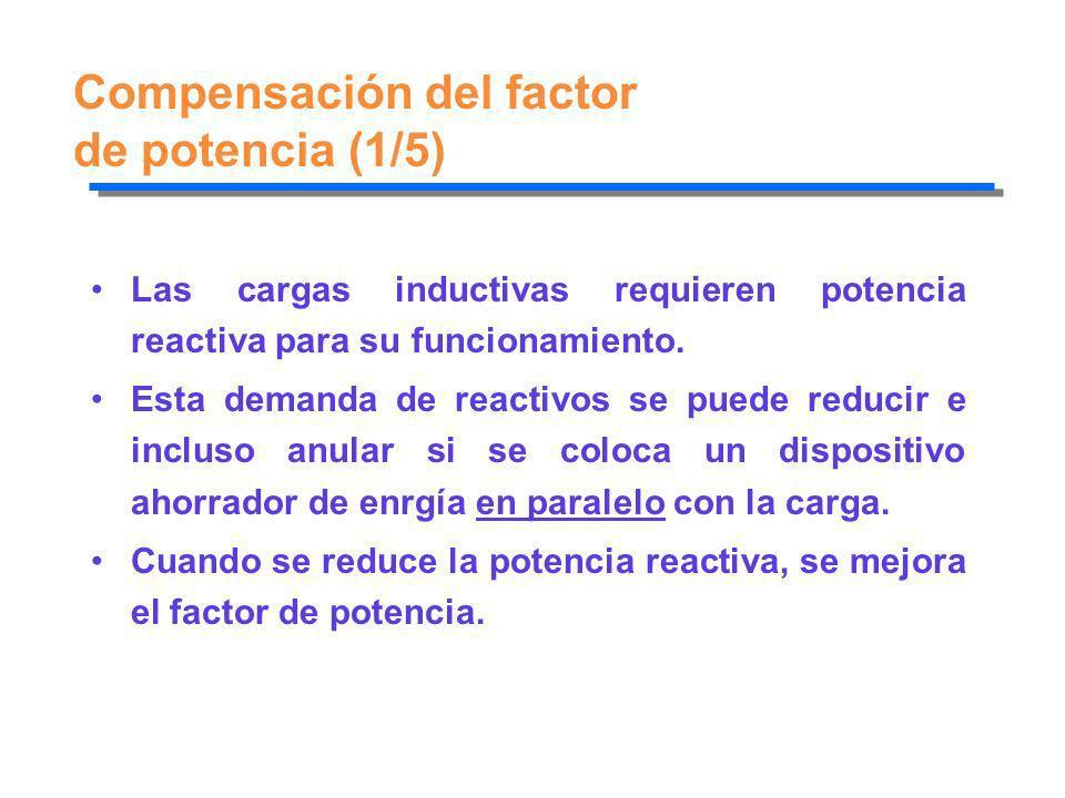 Compensación del factor de potencia (1/5) Las cargas inductivas requieren potencia reactiva para su funcionamiento. Esta demanda de reactivos se puede