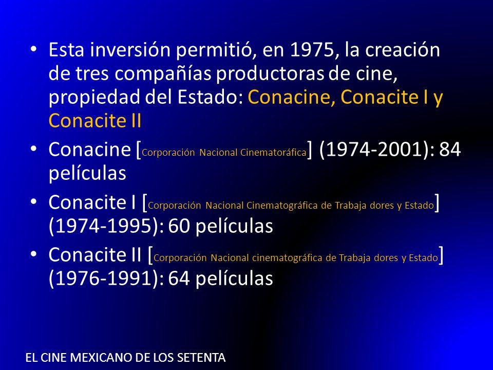 EL CINE MEXICANO DE LOS SETENTA Esta inversión permitió, en 1975, la creación de tres compañías productoras de cine, propiedad del Estado: Conacine, C