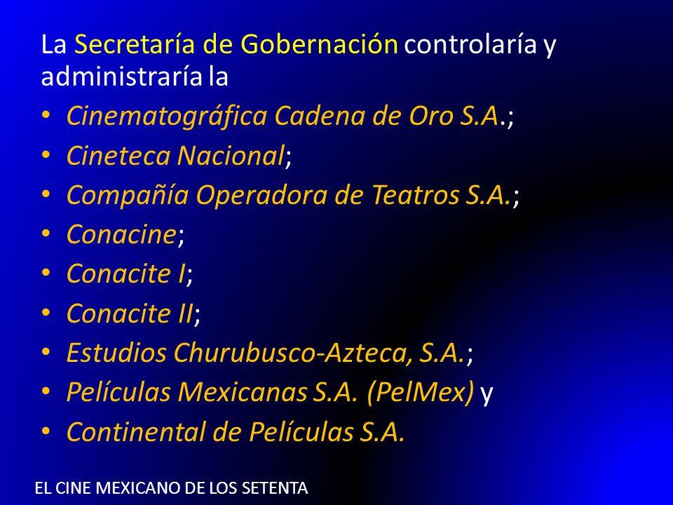 EL CINE MEXICANO DE LOS SETENTA La Secretaría de Gobernación controlaría y administraría la Cinematográfica Cadena de Oro S.A.; Cineteca Nacional; Com
