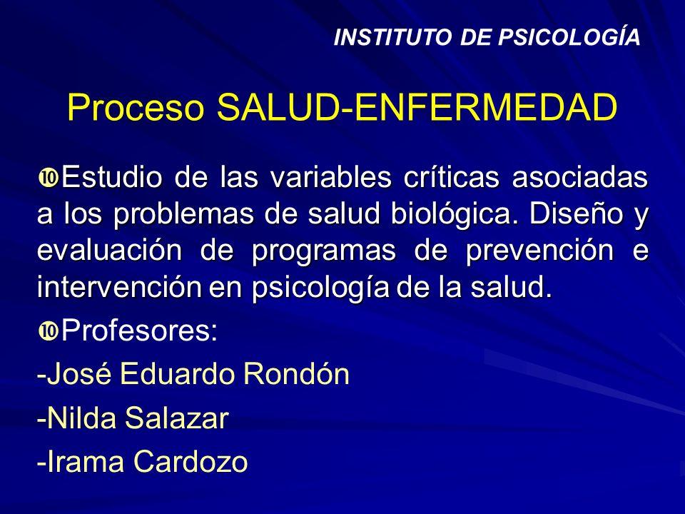 Proceso SALUD-ENFERMEDAD Estudio de las variables críticas asociadas a los problemas de salud biológica. Diseño y evaluación de programas de prevenció