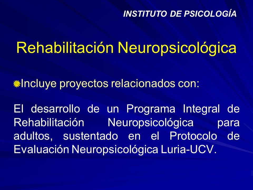 Rehabilitación Neuropsicológica Incluye proyectos relacionados con: El desarrollo de un Programa Integral de Rehabilitación Neuropsicológica para adul