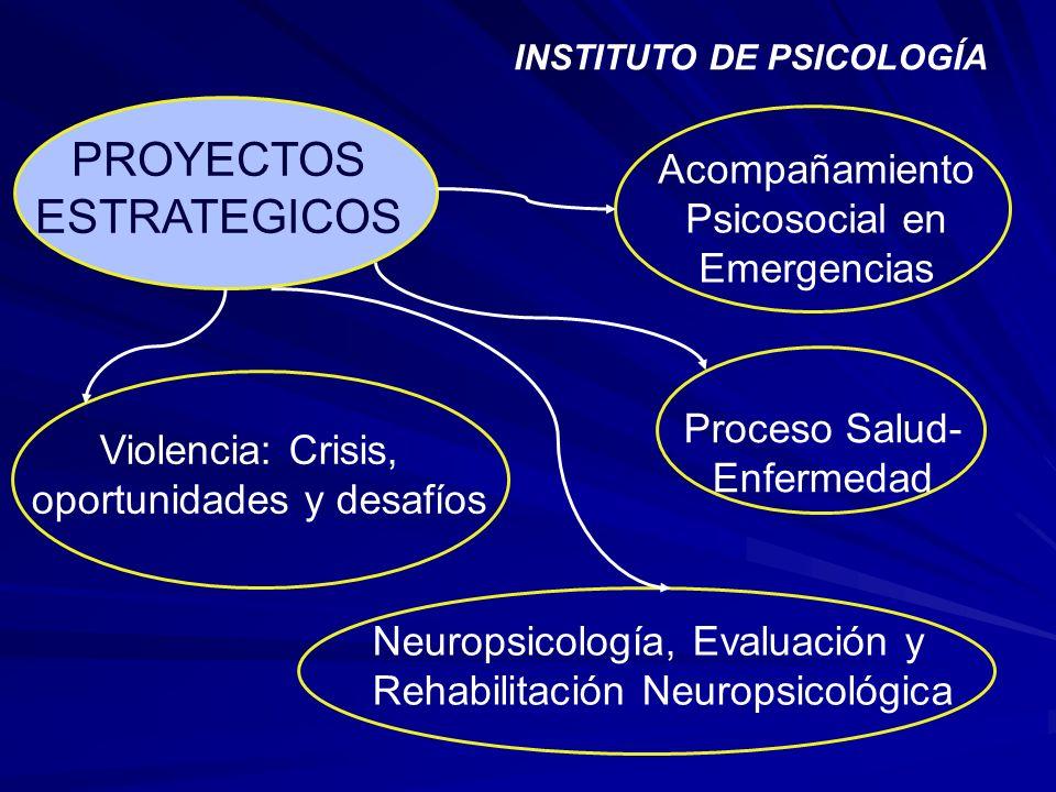 PROYECTOS ESTRATEGICOS Acompañamiento Psicosocial en Emergencias Proceso Salud- Enfermedad Violencia: Crisis, oportunidades y desafíos Neuropsicología