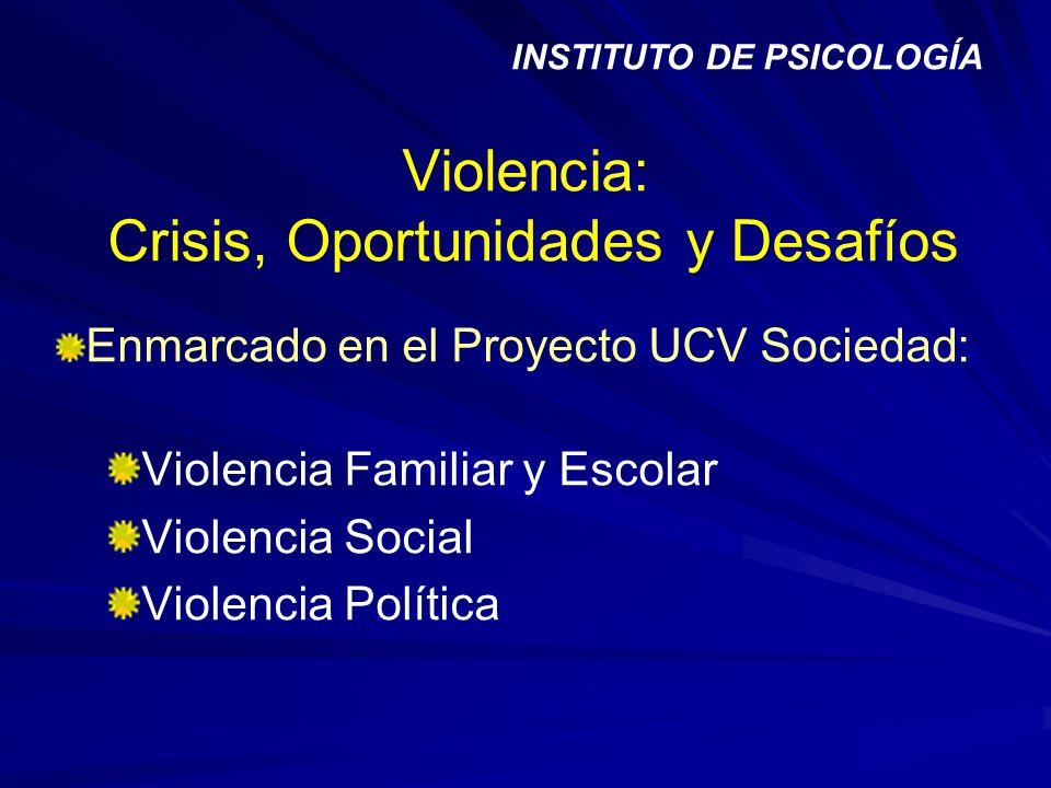 Violencia: Crisis, Oportunidades y Desafíos Enmarcado en el Proyecto UCV Sociedad: Violencia Familiar y Escolar Violencia Social Violencia Política IN