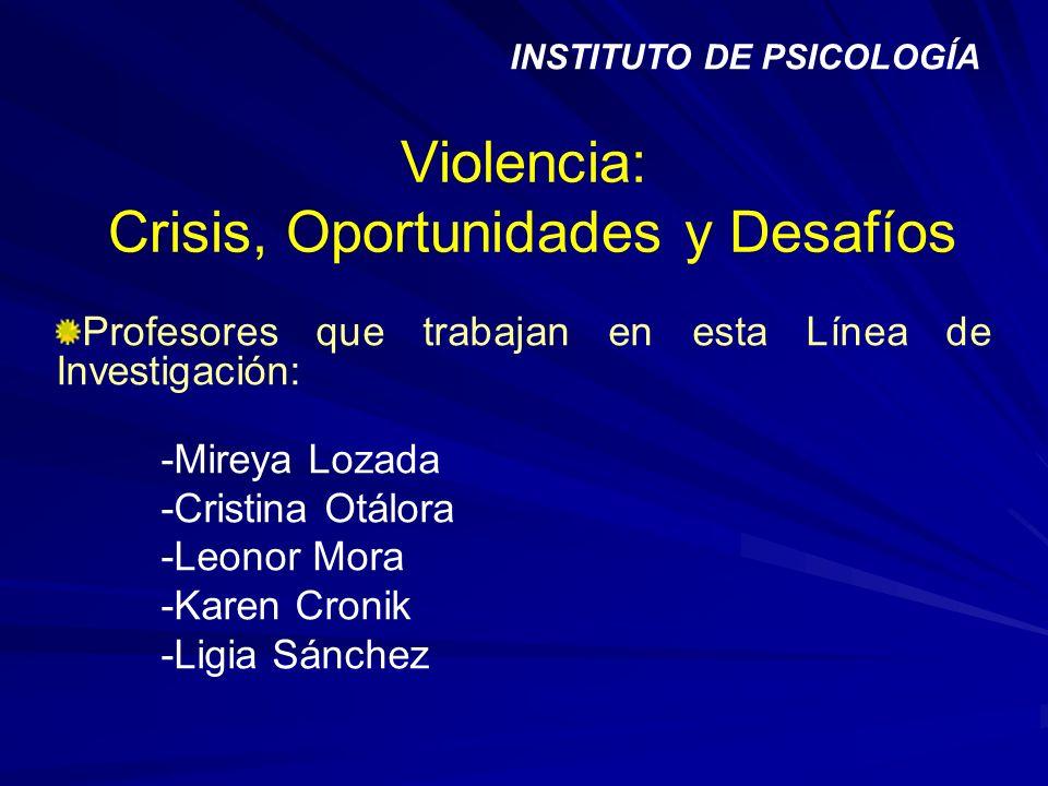 Violencia: Crisis, Oportunidades y Desafíos Profesores que trabajan en esta Línea de Investigación: -Mireya Lozada -Cristina Otálora -Leonor Mora -Kar