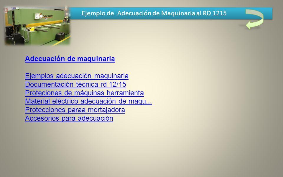 Ejemplo de Adecuación de Maquinaria al RD 1215 Adecuación de maquinaria Ejemplos adecuación maquinaria Documentación técnica rd 12/15 Proteciones de m