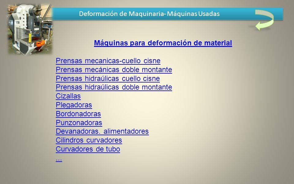 Deformación de Maquinaria- Máquinas Usadas Máquinas para deformación de material Prensas mecanicas-cuello cisne Prensas mecánicas doble montante Prens