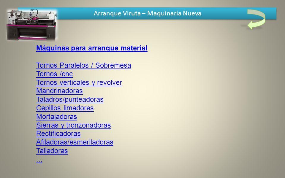 Arranque Viruta – Maquinaria Nueva Máquinas para arranque material Tornos Paralelos / Sobremesa Tornos /cnc Tornos verticales y revolver Mandrinadoras