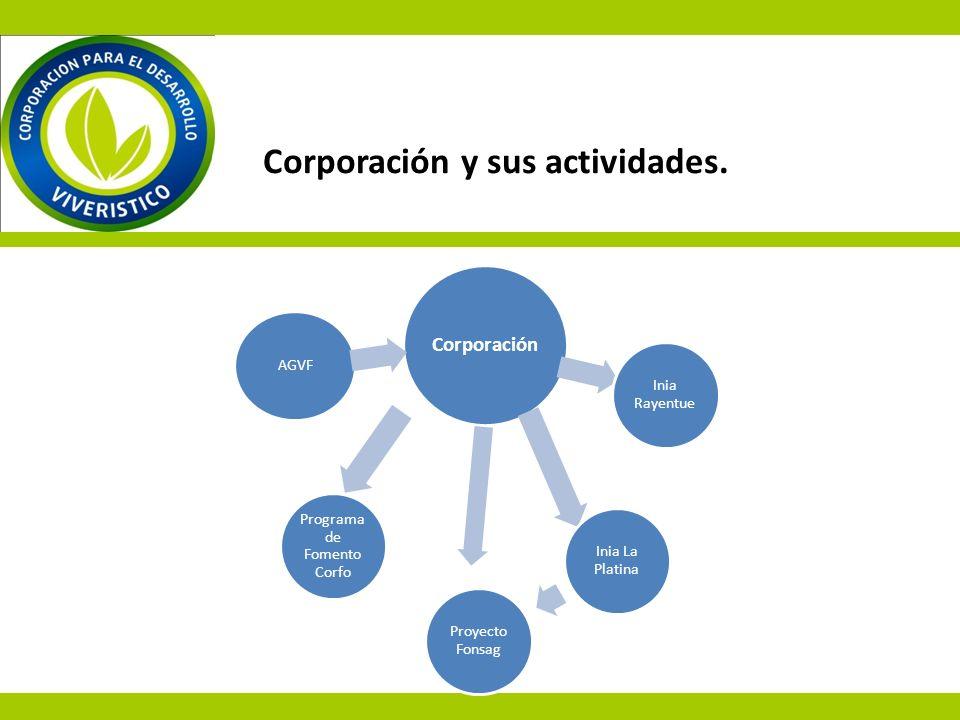 Corporación y sus actividades. Corporación Inia Rayentue Inia La Platina Proyecto Fonsag Programa de Fomento Corfo AGVF
