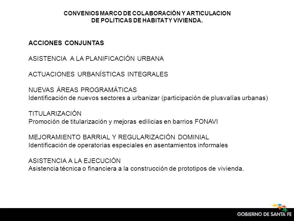 CONVENIOS MARCO DE COLABORACIÓN Y ARTICULACION DE POLITICAS DE HABITAT Y VIVIENDA.