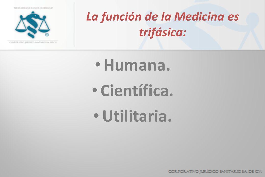 La función de la Medicina es trifásica: Humana. Científica. Utilitaria.
