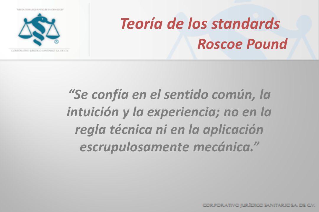 Teoría de los standards Roscoe Pound Se confía en el sentido común, la intuición y la experiencia; no en la regla técnica ni en la aplicación escrupulosamente mecánica.