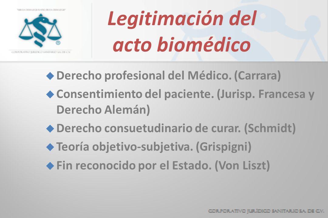 Legitimación del acto biomédico u Derecho profesional del Médico. (Carrara) u Consentimiento del paciente. (Jurisp. Francesa y Derecho Alemán) u Derec