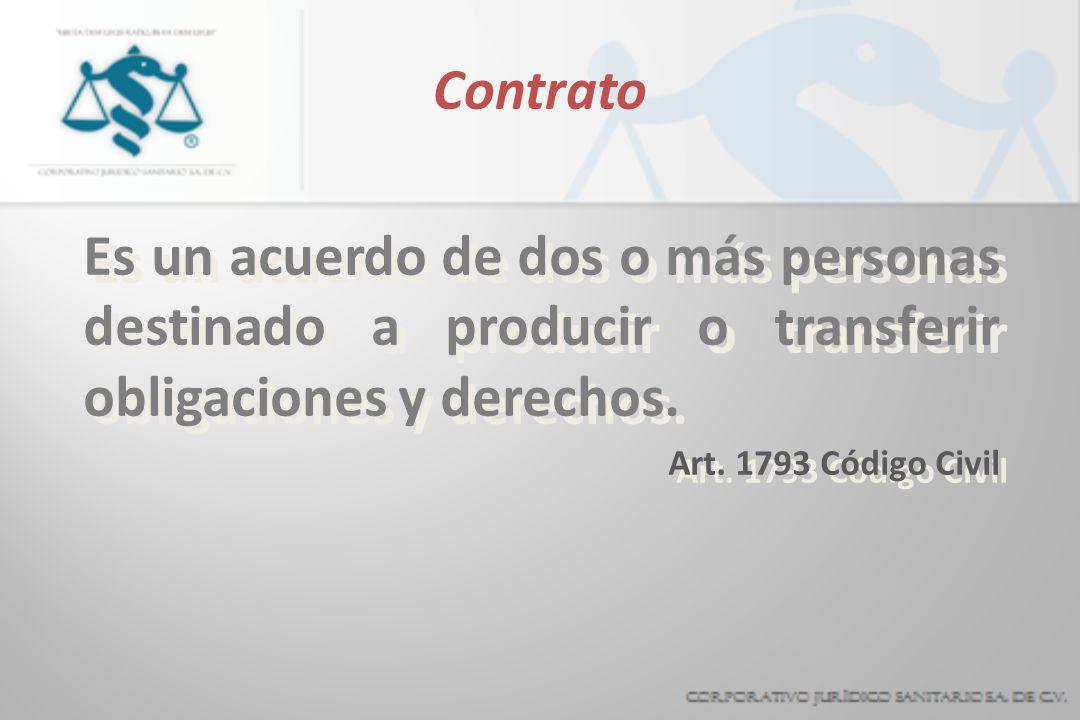 Contrato Es un acuerdo de dos o más personas destinado a producir o transferir obligaciones y derechos. Art. 1793 Código Civil Es un acuerdo de dos o