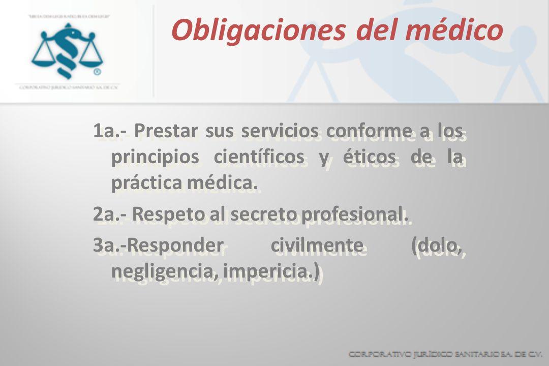Obligaciones del médico 1a.- Prestar sus servicios conforme a los principios científicos y éticos de la práctica médica. 2a.- Respeto al secreto profe