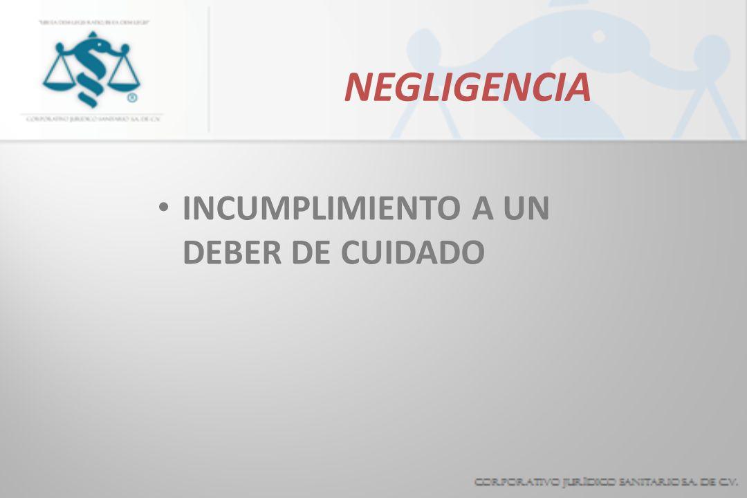 NEGLIGENCIA INCUMPLIMIENTO A UN DEBER DE CUIDADO