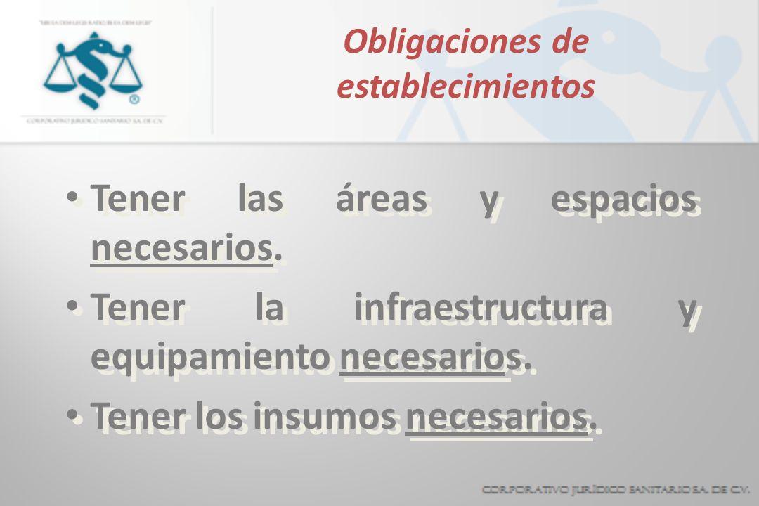 Obligaciones de establecimientos Tener las áreas y espacios necesarios. Tener la infraestructura y equipamiento necesarios. Tener los insumos necesari
