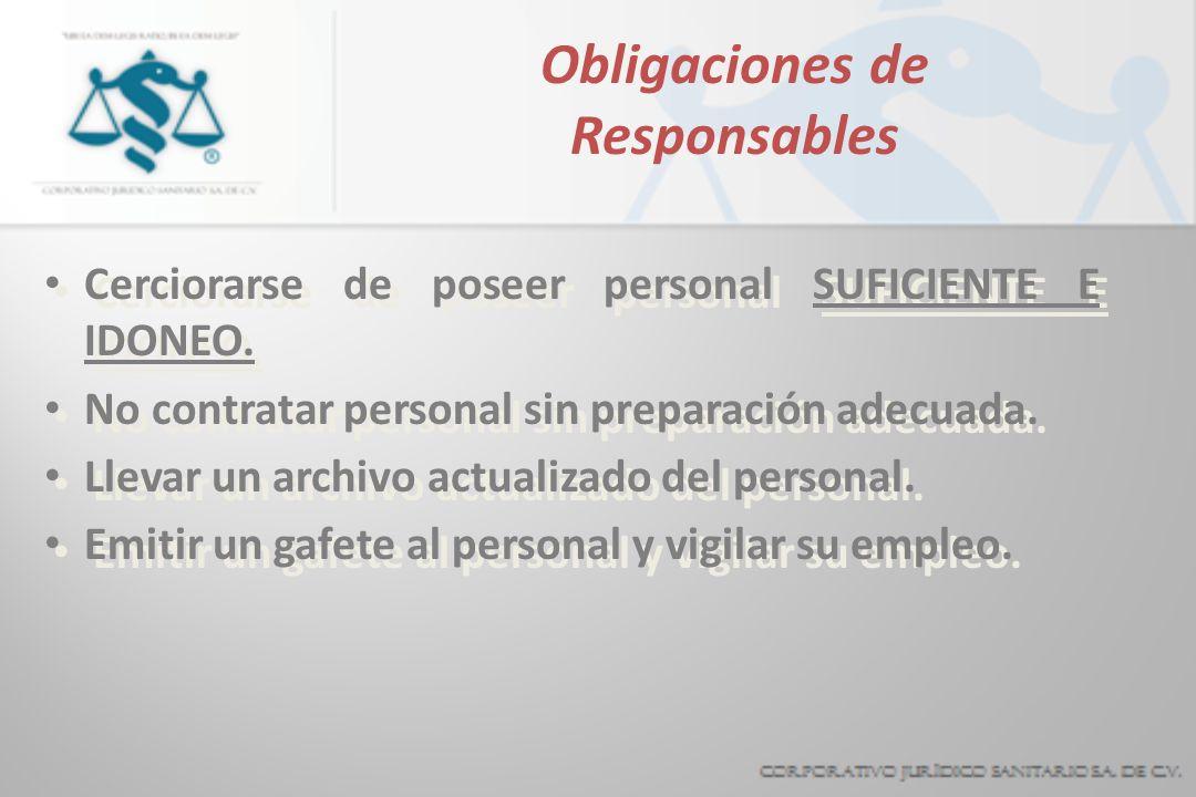 Obligaciones de Responsables Cerciorarse de poseer personal SUFICIENTE E IDONEO. No contratar personal sin preparación adecuada. Llevar un archivo act