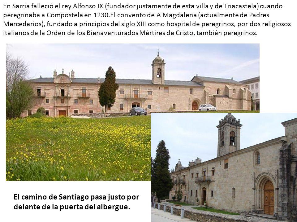 En Sarria falleció el rey Alfonso IX (fundador justamente de esta villa y de Triacastela) cuando peregrinaba a Compostela en 1230.El convento de A Mag