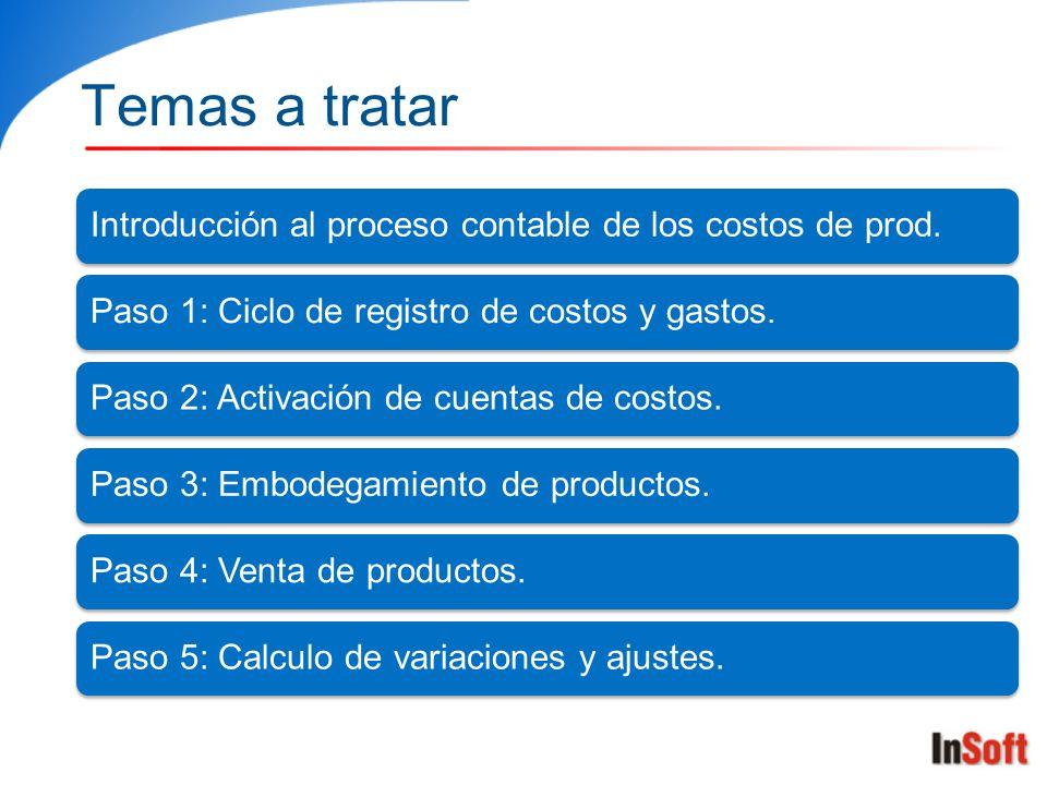 Temas a tratar Introducción al proceso contable de los costos de prod.Paso 1: Ciclo de registro de costos y gastos.Paso 2: Activación de cuentas de co