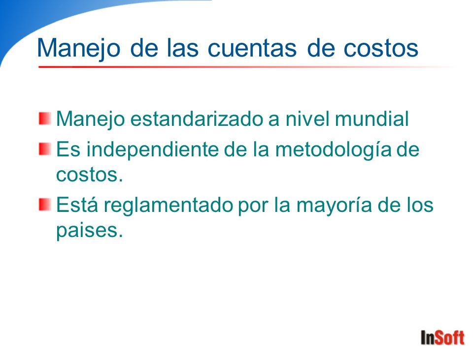 Manejo de las cuentas de costos Manejo estandarizado a nivel mundial Es independiente de la metodología de costos. Está reglamentado por la mayoría de
