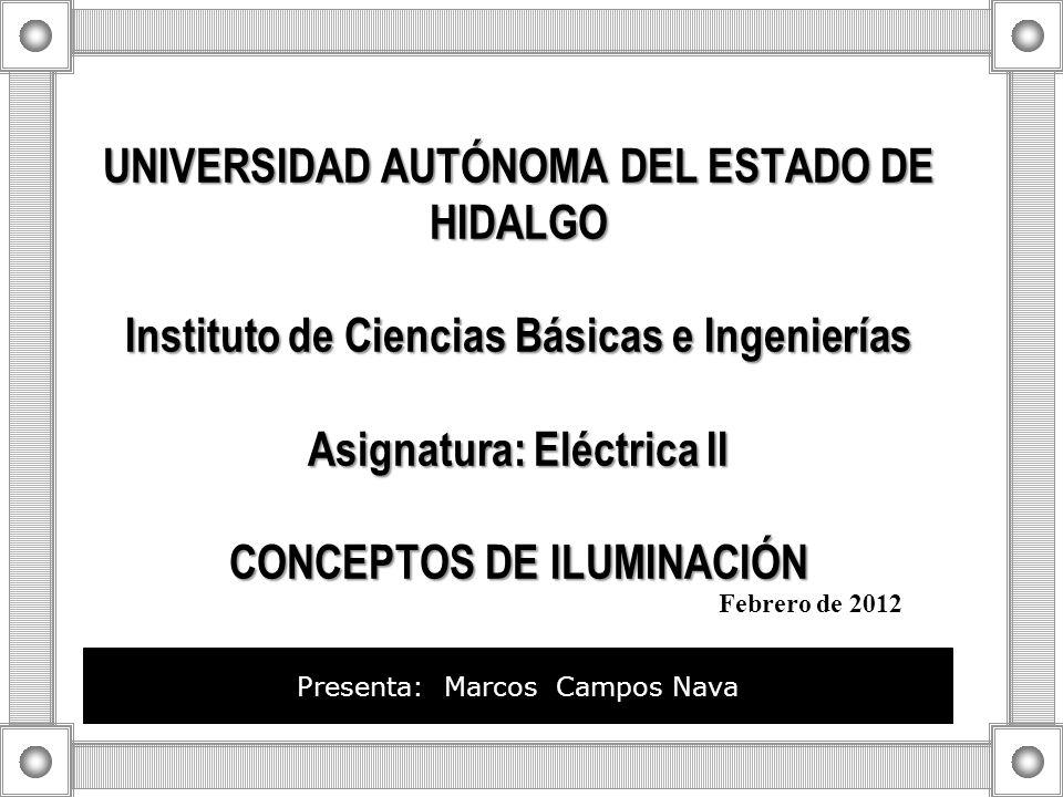UNIVERSIDAD AUTÓNOMA DEL ESTADO DE HIDALGO Instituto de Ciencias Básicas e Ingenierías Asignatura: Eléctrica II CONCEPTOS DE ILUMINACIÓN UNIVERSIDAD A