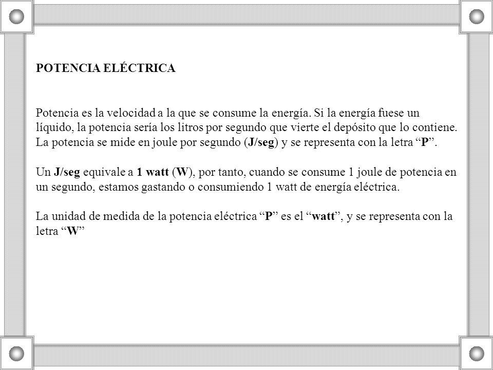 POTENCIA ELÉCTRICA Potencia es la velocidad a la que se consume la energía. Si la energía fuese un líquido, la potencia sería los litros por segundo q