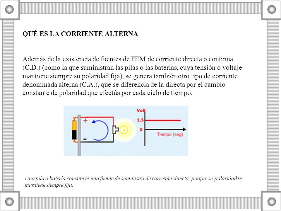 QUÉ ES LA CORRIENTE ALTERNA Además de la existencia de fuentes de FEM de corriente directa o continua (C.D.) (como la que suministran las pilas o las