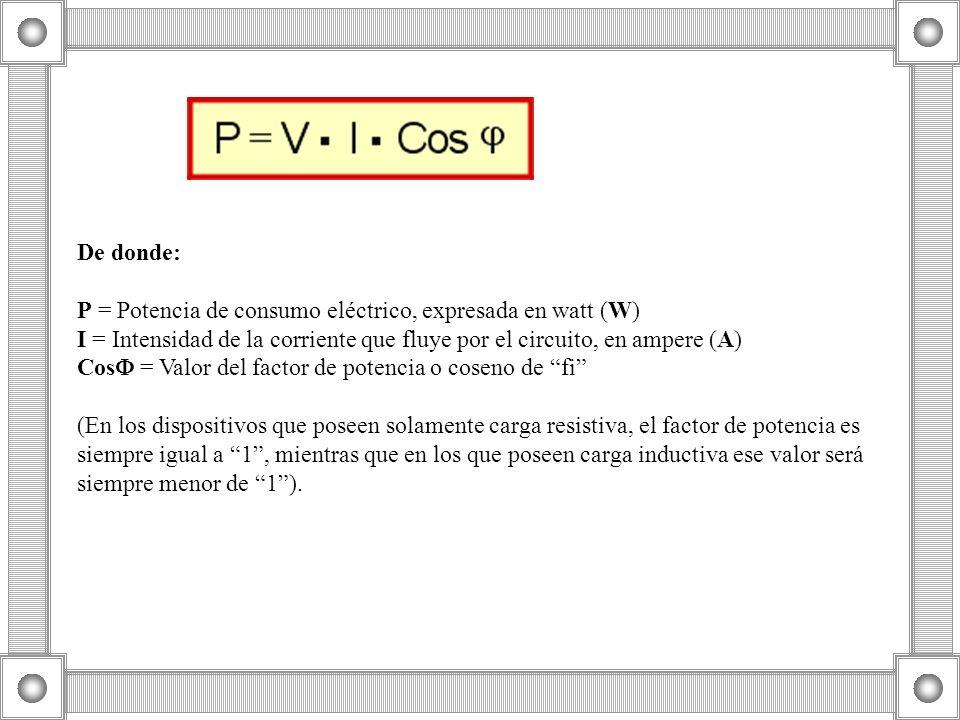 De donde: P = Potencia de consumo eléctrico, expresada en watt (W) I = Intensidad de la corriente que fluye por el circuito, en ampere (A) Cos = Valor