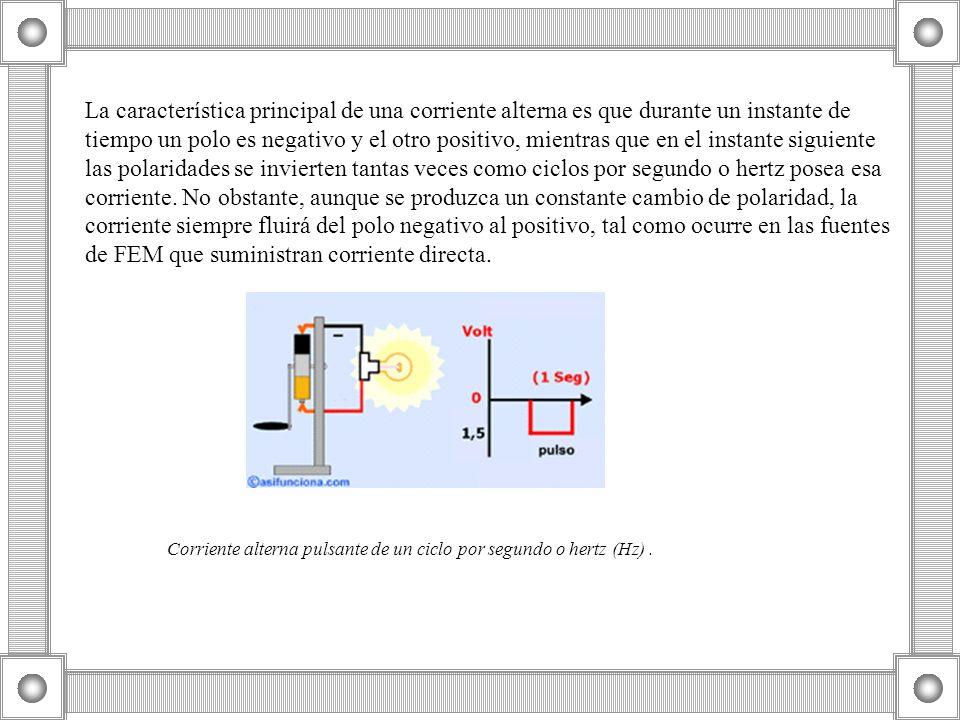 La característica principal de una corriente alterna es que durante un instante de tiempo un polo es negativo y el otro positivo, mientras que en el i